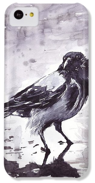 Pigeon iPhone 5c Case - Crow Watercolor by Suzann's Art