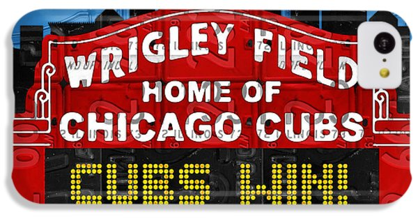 Cubs Win Wrigley Field Chicago Illinois Recycled Vintage License Plate Baseball Team Art IPhone 5c Case by Design Turnpike