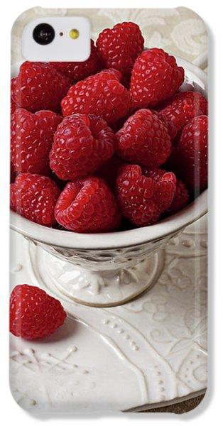 Cup Full Of Raspberries  IPhone 5c Case by Garry Gay