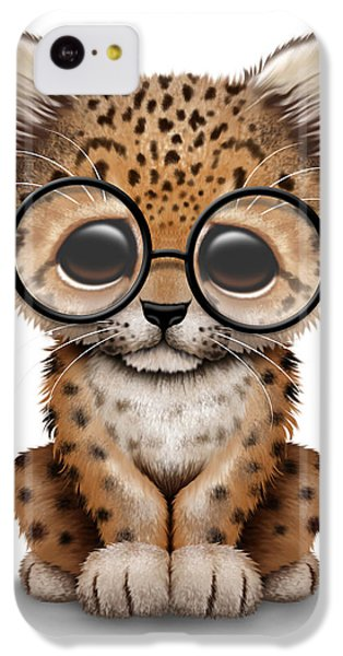 Cute Baby Leopard Cub Wearing Glasses IPhone 5c Case by Jeff Bartels