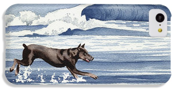 Doberman At The Beach  IPhone 5c Case by David Rogers