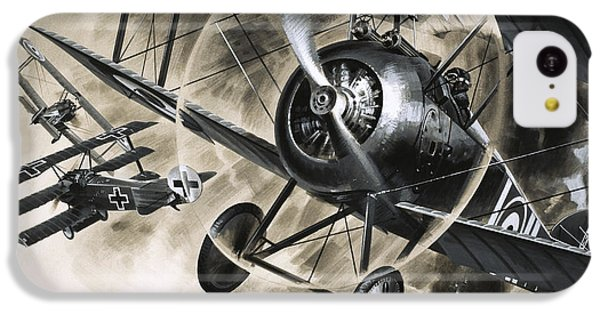 Dog Fight Between British Biplanes And A German Triplane IPhone 5c Case by Wilf Hardy
