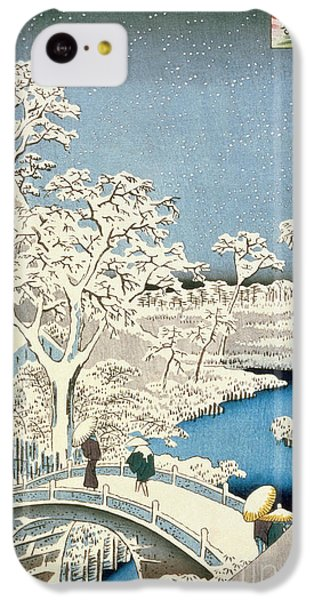 Drum iPhone 5c Case - Drum Bridge And Setting Sun Hill At Meguro by Hiroshige