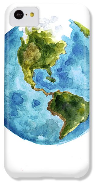 Earth America Watercolor Poster IPhone 5c Case by Joanna Szmerdt