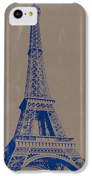 Eiffel Tower Blue IPhone 5c Case by Naxart Studio