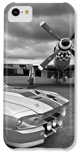 Airplane iPhone 5c Case - Eleanor Mustang With P51 Black And White by Gill Billington