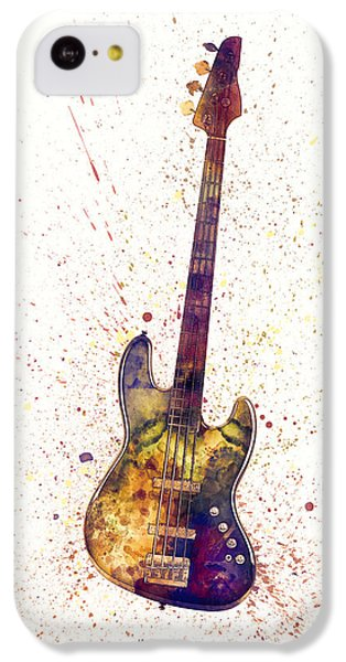 Smallmouth Bass iPhone 5c Case - Electric Bass Guitar Abstract Watercolor by Michael Tompsett