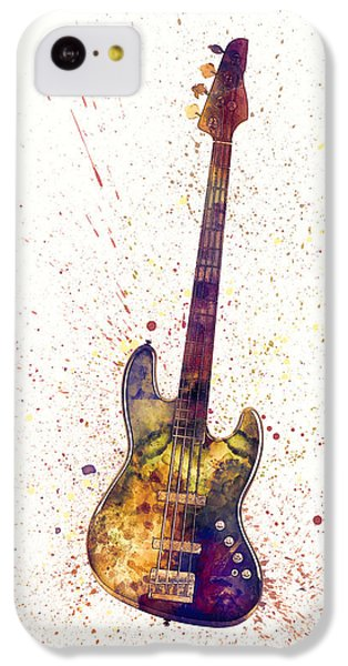 Guitar iPhone 5c Case - Electric Bass Guitar Abstract Watercolor by Michael Tompsett
