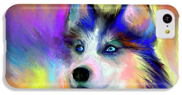 Electric Siberian Husky Dog Painting IPhone 5c Case by Svetlana Novikova
