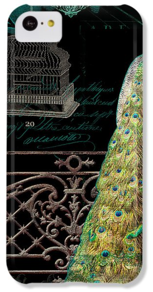 Elegant Peacock Iron Fence W Vintage Scrolls 4 IPhone 5c Case by Audrey Jeanne Roberts