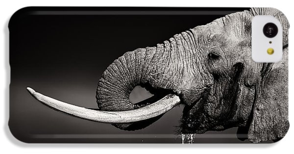 Bull iPhone 5c Case - Elephant Bull Drinking Water - Duetone by Johan Swanepoel