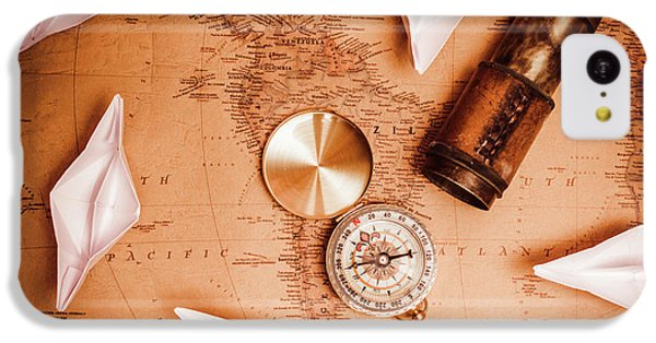 Navigation iPhone 5c Case - Explorer Desk With Compass, Map And Spyglass by Jorgo Photography - Wall Art Gallery