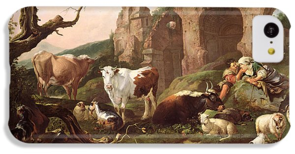 Farm Animals In A Landscape IPhone 5c Case by Johann Heinrich Roos