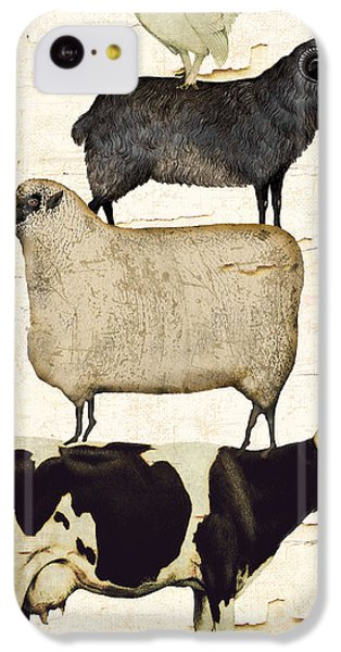 Cow iPhone 5c Case - Farm Animals Pileup by Mindy Sommers