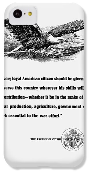 Eagle iPhone 5c Case - Fdr War Quote by War Is Hell Store