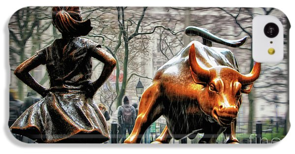 Bull iPhone 5c Case - Fearless Girl And Wall Street Bull Statues by Nishanth Gopinathan