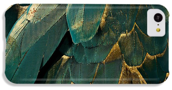 Feather Glitter Teal And Gold IPhone 5c Case by Mindy Sommers