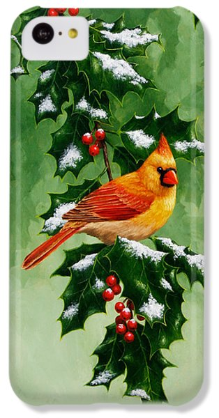 Female Cardinal And Holly Phone Case IPhone 5c Case by Crista Forest