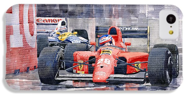 Car iPhone 5c Case - 1991 Ferrari F1 Jean Alesi Phoenix Us Gp Arizona 1991 by Yuriy Shevchuk