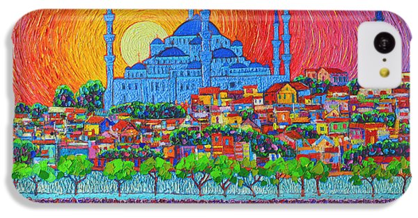 City Sunset iPhone 5c Case - Fiery Sunset Over Blue Mosque Hagia Sophia In Istanbul Turkey by Ana Maria Edulescu