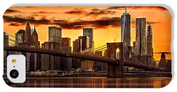 Fiery Sunset Over Manhattan  IPhone 5c Case by Az Jackson