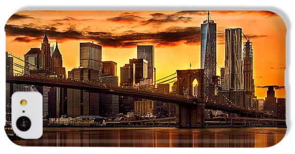 Fiery Sunset Over Manhattan  IPhone 5c Case by Az Jackson