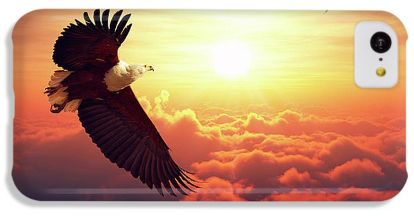 Eagle iPhone 5c Case - Fish Eagle Flying Above Clouds by Johan Swanepoel