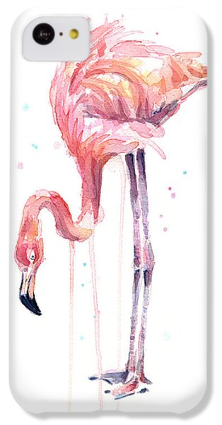 Flamingo iPhone 5c Case - Flamingo Illustration Watercolor - Facing Left by Olga Shvartsur