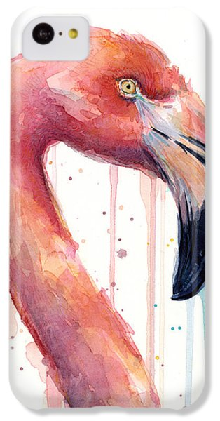 Flamingo Painting Watercolor - Facing Right IPhone 5c Case by Olga Shvartsur