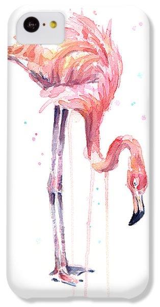 Flamingo iPhone 5c Case - Flamingo Painting Watercolor by Olga Shvartsur