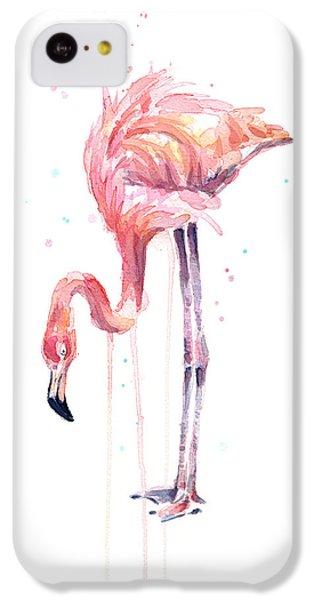 Flamingo iPhone 5c Case - Flamingo Watercolor - Facing Left by Olga Shvartsur