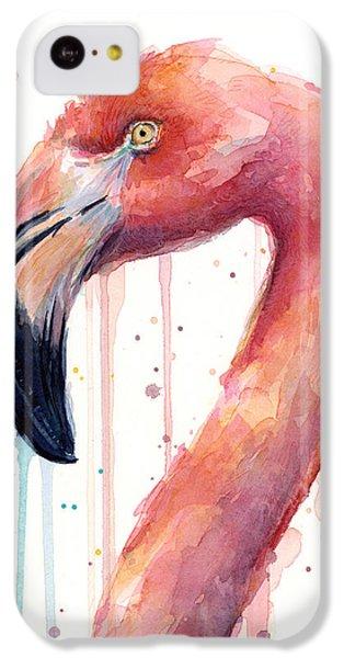Flamingo iPhone 5c Case - Flamingo Watercolor Illustration by Olga Shvartsur