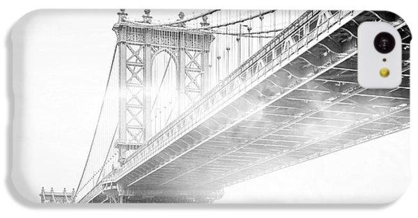 White iPhone 5c Case - Fog Under The Manhattan Bw by Az Jackson