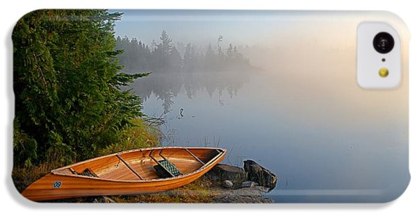 Landscapes iPhone 5c Case - Foggy Morning On Spice Lake by Larry Ricker