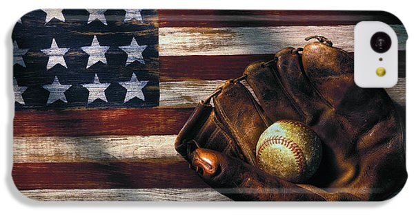Landmarks iPhone 5c Case - Folk Art American Flag And Baseball Mitt by Garry Gay