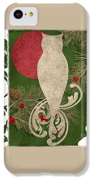Forest Holiday Christmas Owl IPhone 5c Case by Mindy Sommers