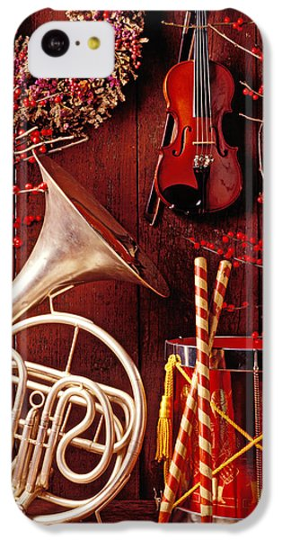 Drum iPhone 5c Case - French Horn Christmas Still Life by Garry Gay