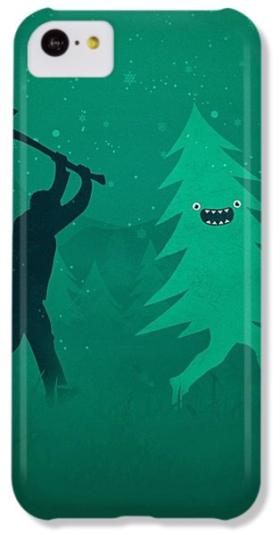 iPhone 5c Case - Funny Cartoon Christmas Tree Is Chased By Lumberjack Run Forrest Run by Philipp Rietz