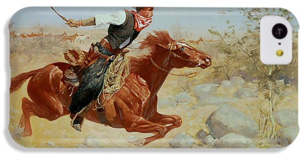 Horse iPhone 5c Case - Galloping Horseman by Frederic Remington