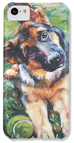 Dog iPhone 5c Case - German Shepherd Pup With Ball by Lee Ann Shepard
