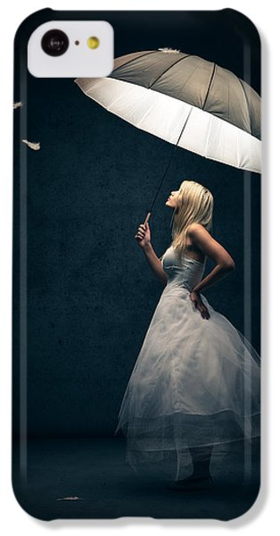 Girl With Umbrella And Falling Feathers IPhone 5c Case by Johan Swanepoel