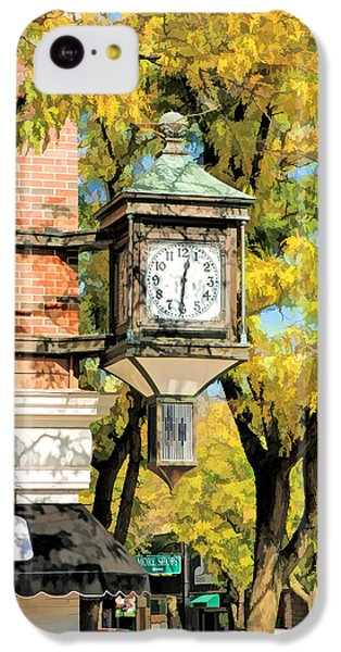 IPhone 5c Case featuring the painting Glen Ellyn Corner Clock by Christopher Arndt