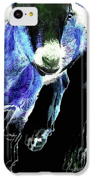 Goat Pop Art - Blue - Sharon Cummings IPhone 5c Case by Sharon Cummings