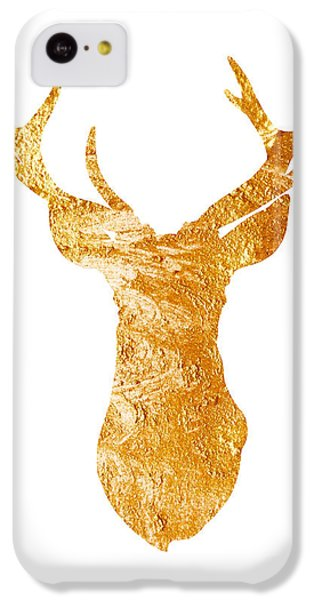 Gold Deer Silhouette Watercolor Art Print IPhone 5c Case by Joanna Szmerdt