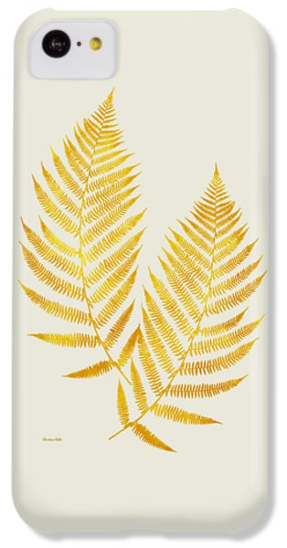 IPhone 5c Case featuring the mixed media Gold Fern Leaf Art by Christina Rollo
