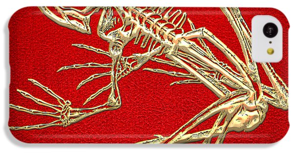 Gold Frog Skeleton On Red Leather IPhone 5c Case by Serge Averbukh