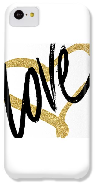 Valentines Day iPhone 5c Case - Gold Heart Black Script Love by South Social Studio
