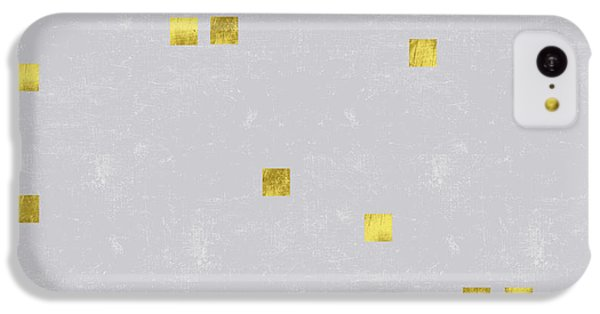Gold Scattered Square Confetti Pattern On Grey Linen Texture IPhone 5c Case by Tina Lavoie