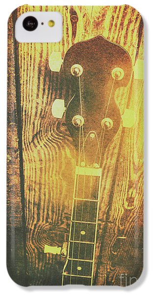 Sound iPhone 5c Case - Golden Banjo Neck In Retro Folk Style by Jorgo Photography - Wall Art Gallery