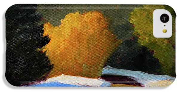 IPhone 5c Case featuring the painting Golden Light Winter Road by Nancy Merkle
